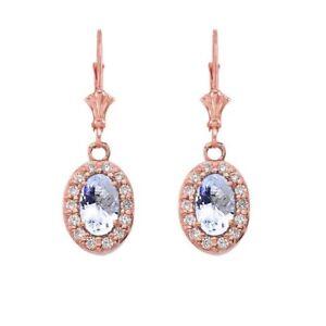 Solid 10k 14k Rose Gold Diamond And Aquamarine Oval  Leverback Earrings Set