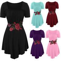 Plus Size Fashion Women Embroidery O-Neck Short Sleeve T-shirt Blouse Tunic Tops