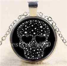 Skull Stars Photo Cabochon Glass Tibet Silver Chain Pendant  Necklace