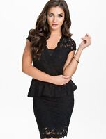 New Sexy Black Lace Peplum Cocktail Evening Formal Womens Dress  8,10,12,14