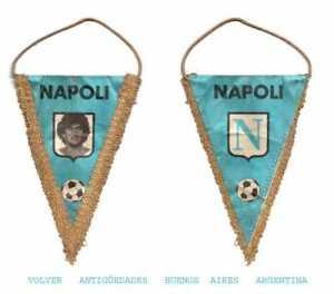 RARE small Maradona Napoli Italy soccer pennant 17 x 10 cm 80's