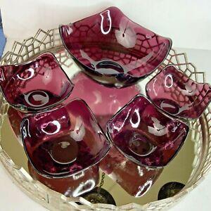 Salad Set Bowls Glass Amethyst Vintage Square Handkerchief Purple Eclectic #N1