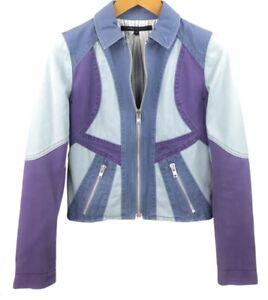 $245 Marc Jacobs PANELED Zip Up MOTO DENIM JACKET SZ 12~NICE!!!!