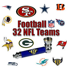 NFL 32 Teams Logos Metal Tobacco Smoking Pipe Brass Bowl Hand Portable Herb