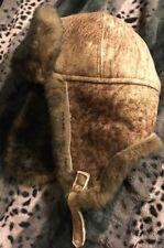 FUR WINTER Suede Leather Faux Fur Aviator Bomber Trapper Hat BRN M