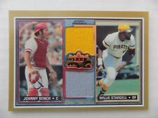 Johnny Bench Baseball Card Game Used Jersey Willie Stargell Jersey Fleer 2002