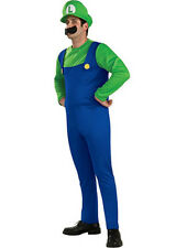 HT MENS Costume Fancy Dress Up Green Super Mario Brothers Luigi Size S,M,L