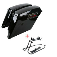 Black Hard Saddlebags Saddle Bag+Conversion Brackets For Harley Davidson Softail