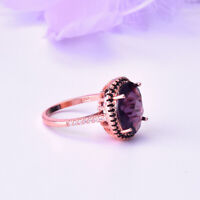 925 Silver Rose Gold Amethyst Wedding Engagement Ring Queen Jewelry Wholesale
