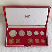 SOUTH AFRICA 1971 10 COIN PROOF YEAR SET WITH GOLD 2R AND 1R - SAM BOX