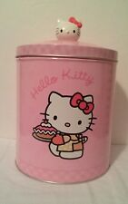 Sanrio Hello Kitty Pink Biscuit Cookie Tin Round Container Hello Kitty Knob 2004