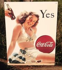 COKE Coca Cola Sign Tin Vintage Garage Bar Decor Old Girl Lady White Swim Suit