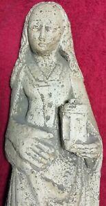 Ancienne Statue Sculpture Femme pierre taillée  Religion Collection