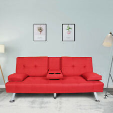 Convertible Futon Sofa Bed Twin Sleeper w/Cup Holder Loveseat Chair Couch Red
