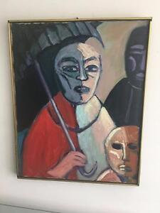 Manny Blanc Signed 1970 Listed Artist MCM Painting Mother Child Umbrella Framed