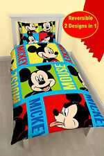 NEW DISNEY MICKEY MOUSE BRIGHT SINGLE DUVET QUILT COVER BEDDING SET BOYS BEDROOM