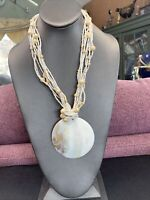 White mother of Pearl multi strand BoHo pendant necklace 18+ inches