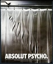 1998 Absolut Psycho movie shower curtain vodka bottle shape vintage print ad