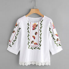 Women Fashion Summer Blouse Ladies Lace Floral Printed Casual Top Loose T-shirt White L