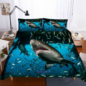 Linen Shark Fish Doona/Duvet/Quilt Cover Set Single/Double/Queen/King Bed