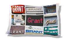 Personalized Pillowcase featuring the name GRANT in photos of signs