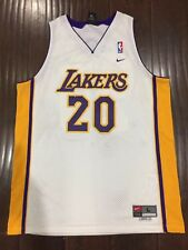 cabdc0e43 VTG🔥 Nike NBA Los Angeles Lakers Gary Payton Sewn Jersey Sz L Men s White  Gold