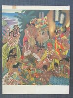 "1951 SS Lurline Menu Cover art by Eugene Savage ""Island Feast"""