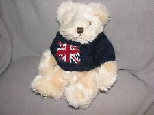 HARRODS STUFFED PLUSH TEDDY BEAR SHAGGY FURRY CORDUROY FEET UNION JACK SWEATER