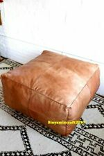 King's size Square Leather Footstool Cube Moroccan Pouf Ottoman Large  Hassock
