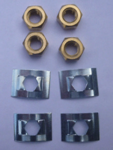Villager Stove Glass Clips Set of 4 Metal Clips and Brass Nuts