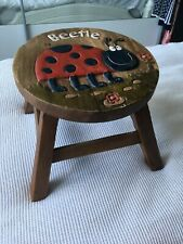 VERY STURDY HARDWOOD CHILD'S STOOL-'LADYBIRD' CARVED/PAINTED DESIGN-CUTE-NICE