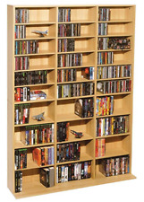 Media Storage Cabinet Tower Adjustable Shelves DVD CD Blu Ray Game Case Maple