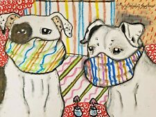 American Bulldog in Face Masks Art Print 4x6 Dog Collectible Signed Artist Ksams