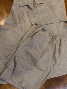 Shamask Pant Suit Pinstripe Open Front Jacket &Pants 100% Linen Sz 2-3 USA 18-20