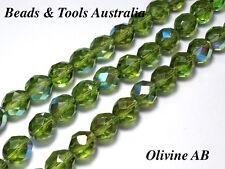 Czech Fire Polished Glass Bead 10mm Olivine AB Czech Beads (25pc) BEADS & TOOLS
