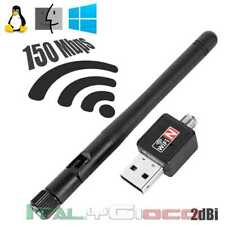 Adattatore USB WIFI 150Mbps 2dBi Antenna di Rete LAN Internet Stick Penna Nero