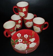 White Blossom Plates Cups by Home Set of Four
