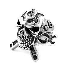 Edelstahl Ring Totenkopf massiv Skull Rocker Biker  (R-047)