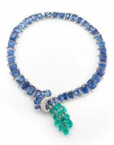 Highend Blue Emerald Green Pear-Cut Studded Oval-cut Sapphire Womens Necklace