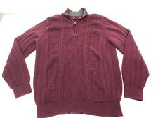 Mens Izod Sweater Size XLT Purple 1/4 Zip Neck Long Sleeve Knit Bin Y9