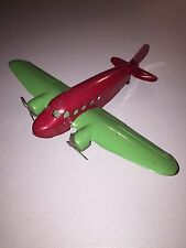 Vintage Red & Green Metal Prop Plane, 1930's Toy