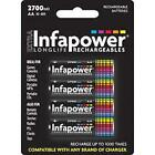 Infapower Rechargeable AA Ni-MH Multi Usage Batteries 1.2v 2500mAh 4 Pack New
