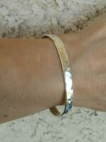 Solid Sterling Silver Hammered Finish Sterling Silver Cuff Bracelet 13.5 gr