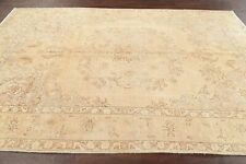 Antique Muted Geometric Tabriiz Area Rug Distressed Hand-Knotted Wool Carpet 6x9