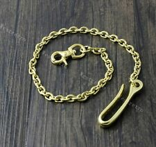 "18"" Solid Brass Biker Trucker Wallet Chain Jean Keychain With Fob And Hook"