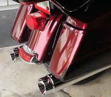"""4"""" Chrome Megaphone Slip-On Mufflers Exhaust Pipes Fit 1995-2016 Harley Touring"""
