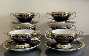 Weimar 20003 Katharina Cobalt Blue and Gold 6 Footed Cream Soup Bowl and Saucer