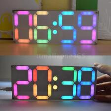 LED Electronic Digital Clock DIY Kit Rainbow Colors Transparent Case Set B5X4