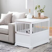Large  Indoor Wood Dog Pet Crate End Table White Living Room Bedroom New