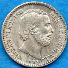 Netherlands 1887 10 Ten Cents Silver Coin - Choice Uncirculated